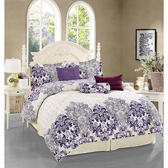 Beautiful Chic Vintage Purple Floral 7-PC Comforter Set King Queen NEW