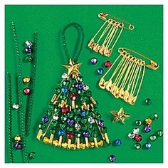 Make Christmas Trees with safety pins.