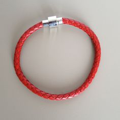 Red Leather Bracelet with Magnet Clasp Red Braided Leather...