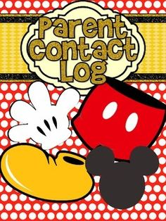 Disney's Mickey Mouse Red Polkadot Parent Contact Log