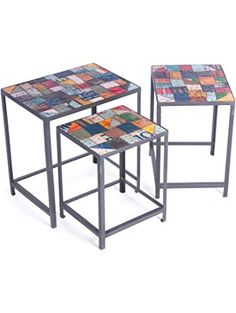 Go Home 13385 British Isle Passport Nesting Tables, Random Top Finishes with Recycled Iron and Tin, Set of 3 ❤ North Coast Lighting - Home Decor