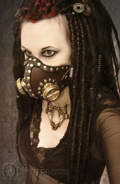 Steampunk/Goth Respirator and hair pieces.