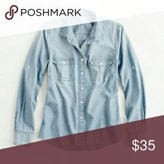 J Crew Factory Chambray Blouse Medium wash heavy weight cotton. Sleeves can be rolled up and buttoned or worn long. Double breast pockets. Brand new with tags. (Stock photo from J. Crew website) J.Crew Factory Tops Button Down Shirts