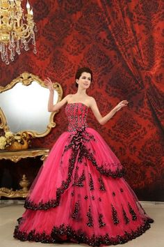 CHIQ | Hot Pink Strapless Beaded Lace Up Back Ball Gown I'd prefer white to go with the hot pink...