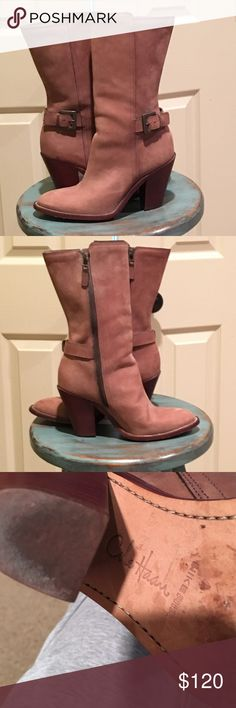 """COLE HAAN NIKE AIR BOOTS * What do you get when 2 elite brands combine to make 1.....a GORGEOUS pair of high quality comfortable boot, of course!!! * Distressed buckskin leather,  4"""" stacked heel * worn maybe a handful of times, but look brand new except for the sole scuffs (to keep from sliding) Cole Haan Shoes Heeled Boots"""