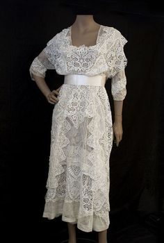 Lace tea dress, c.1915, worn for wedding dress.