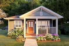 Granny pods farmhouse Plan Cozy Tiny Home With Gabled Front Porch Small Cottage Homes, Small Cottages, Cottage House Plans, Small House Plans, House Floor Plans, Tiny Homes, Cottages And Bungalows, Small Cabins, Small Cottage Plans