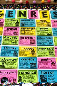 Genre Word Wall, Genre Posters for a classroom library display, Teaching genre bulletin board, Studying genres of literature with kids Reading Genre Posters, Reading Genres, Reading Resources, Guided Reading, Genre Bulletin Boards, Teaching Genre, Writing Anchor Charts, Digital Text, Historical Fiction