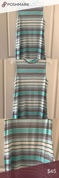 Ocean Blue Mock Neck Striped Dress Ocean Blue Mock Neck Striped Dress. White, turquoise and black strips. Stunning on! Fits true to size. Ocean Blue Dresses Mini