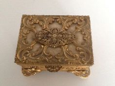 Vintage Ormolu Casket Trinket Box Gold Filigree Jewelry Ornate Velvet Lined