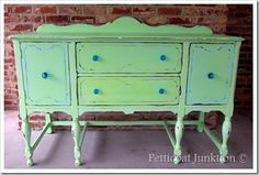 painted-sideboard-buffet-green-turquoise-before-after, Petticoat Junktion