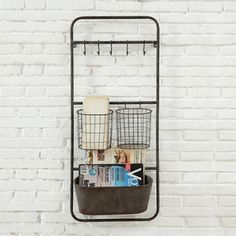 Organize an entry, mud room, kitchen or home office with the industrial chic style of this metal wall shelf with handy hooks. Wand Organizer, Hanging Organizer, Organizers, Wall Organization, Wall Storage, Storage Ideas, Storage Solutions, Organization Ideas, Shelving Ideas