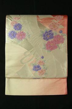 Pink gradation fukuro obi / ピンクグラデ地 結び熨斗と花柄 六通袋帯   #Kimono #Japan http://global.rakuten.com/en/store/aiyama/