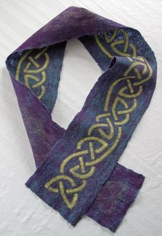 Felted wool scarf Celtic knot work design in by SherriODesigns, $75.00