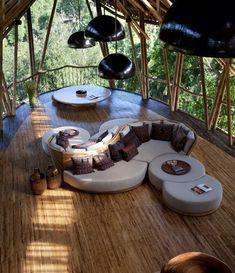 Living room in luxury tree house