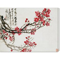 Global Gallery 'Plum Blossoms' by Wu Changshuo Framed Wall Art Wall Art Prints, Fine Art Prints, Poster Prints, Art Posters, Painting Frames, Painting Prints, Paintings, Art Chinois, Art Asiatique
