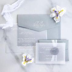 Vellum Wedding Invitation, Vellum Invitation, White Ink Vellum Invitation, Elegant Vellum Invitation, Transparent Paper Invitation - DEPOSIT #weddinginvitation