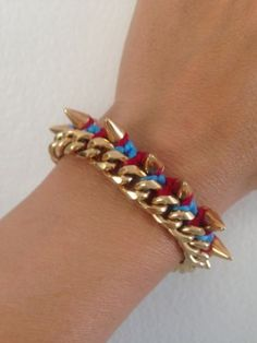 Ettika Gold Spike Chain Bracelet. On Red/Blue Braided Cord. New! So Cool! - http://designerjewelrygalleria.com/ettika/ettika-gold-spike-chain-bracelet-on-redblue-braided-cord-new-so-cool/