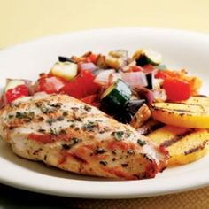 Grilled Chicken Ratatouille Per serving: 324 calories; 13 g fat ( 2 g sat , 9 g mono ); 82 mg cholesterol; 16 g carbohydrates; 36 g protein; 7 g fiber; 687 mg sodium; 1063 mg potassium.