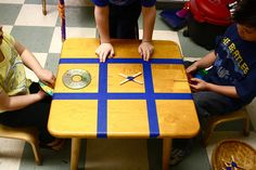 tic tac toe table  i think i will do this out side for a week this summer fun !