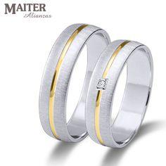 #Alianza #boda oro blanco linea oro amarillo #Maiter 50mm mate rallado suave brillante 0.015cts www.joyasmaiter.com