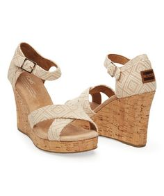 6b314d23 Another great find on #zulily! Natural Woven Diamond Strappy Wedge by TOMS  #zulilyfinds