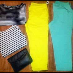 Spring Duo Chic Pants Bundle  Ultra chic & sexy pants pretty girl blue is a great pant that's a great transitional piece. Lightweight, figure flattering and hugs your curves but is comfortable around your waist with a elastic style band ! Next show stopper bright yellow khakis, extremely cute & perfect for the spring and summer... Both brand new, never worn. Blue pair Alfani size 16w purchased from macys, yellow khakis from gap size 18 ! GAP Pants