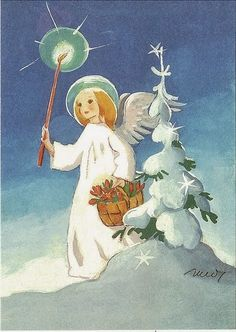 Martta Wendelin, Finland: Angel in snow by little Christmas tree Swedish Christmas, Little Christmas Trees, Christmas Nativity, Scandinavian Christmas, Christmas Angels, Christmas Art, Christmas Holidays, Xmas, Christmas Card Images