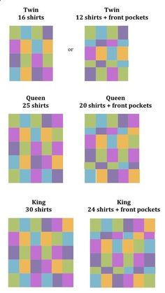 T-Shirt Quilts - good to know how many shirts it takes. @merandalin you should make this for Blake out of teeshirts from sports and camps and stuff!
