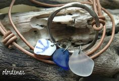 Collaret vidre de mar i ceràmica  Sea glass necklace