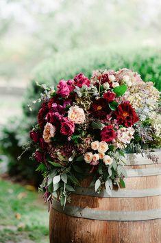 flower topped barrel @weddingchicks