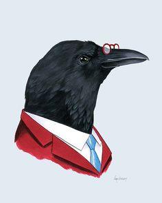 Crow Gentleman art print 8x10