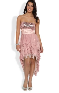 Strapless Sequin Dress with Tendril High Low Skirt and Glitter Mesh. I love the ruffles!!!!