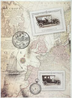 Ricepaper for Decoupage Decopatch Scrapbook Craft Sheet A/3 Vintage Old Map 2