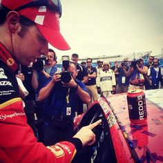 Brad Keselowski adds his 3rd @NASCAR winner's sticker to his car in Victory Lane! Congrats to Brad & @team_penske on their sweep @nhmotorspeedway! -JW (Twitter @misssprintcup)