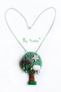 ***Textile jewelry finds #textilejewelry #fashion #design Cloud tree necklace by DreamerHouse on Etsy, €36.50