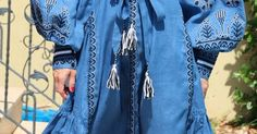 Blue Vita Kin style linen Midi vyshyvanka dress white black Embroidery. Sizes - XS-XXL FRN004 | loupa | Pinterest | Embroidery, Tunics and Style