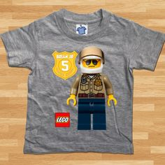 Lego City Police Custom T-Shirt Boy by seaandsuns on Etsy
