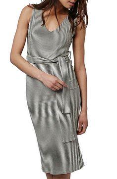 Topshop Belted Stripe V-Neck Midi Dress