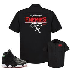 11b0488bc326 Jordan 13 Playoff Button Shirt - Enemies - Black