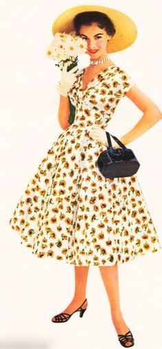 Model wearing a summer floral dress, 1954.
