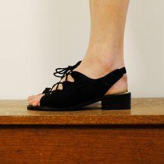 vintage shoes/ lace up cutouts  size 6 by maisondhibou on Etsy, $25.00