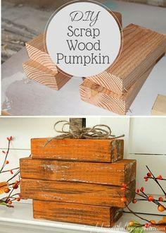Sweet and Simple Scrap Wood Pumpkin via @SimplyBeautifulbyAngela #pumpkins #scrapwood