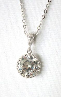 Pamela Cubic Zirconia Drop Necklace Crystal Whte