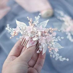 Wedding hair comb Bridal hair comb Blush hair pins Blush