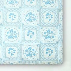 """""""Evelyn"""" wallpaper in Horizon Blue. A modern take on classic."""