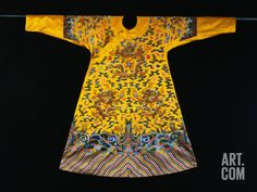 A Rare Imperial Embroidered Yellow Silk Twelve Symbol Dragon Robe, Ji Fu, from the Qianlong Period Photographic Print at Art.com