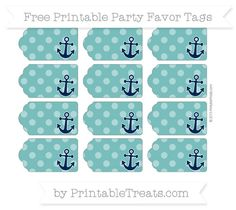 Free Teal Dotted Pattern Nautical Party Favor Tags                                                                                                                                                                                 More