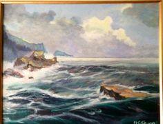 Marina y rocas. Pintura al óleo.