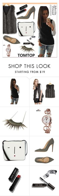 """TOMTOP +23"" by lejla-7 ❤ liked on Polyvore featuring Lulu Guinness, Armani Collezioni, Bobbi Brown Cosmetics, vintage, tomtop and tomtopstyle"